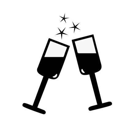 stemware: Vector flat stemware glass icon isolated on white. Eps10