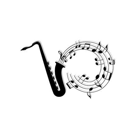 saxofón: fondo musical notas con el saxofón.