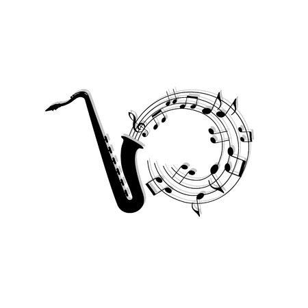 music symbols: musical notes background with saxophone.