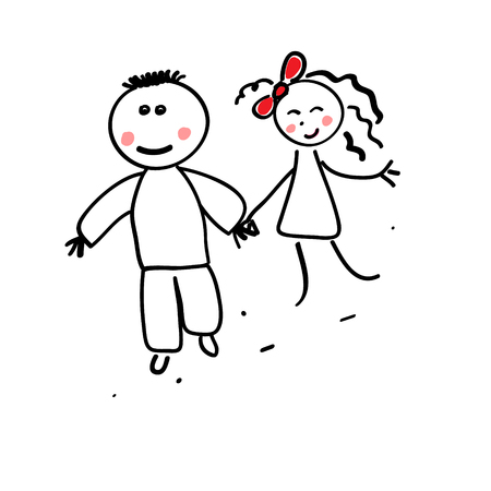 chap: young pair on a walk. vector drawing