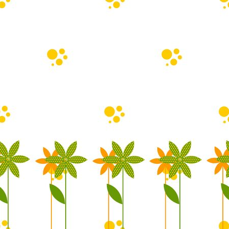 babble: seamless pattern with cartoon flowers, bubbles, wavy lines on light green background, vector illustration Illustration