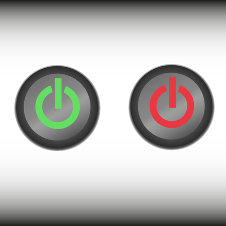 inactive: on - off switches, white with 3d effect, with red and green background, vector illustration,