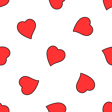manipulation: Valentine hand drawn love heart seamless pattern. Vector illustration layered for easy manipulation and custom coloring.