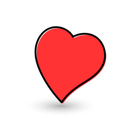 Hand-drawn painted red heart, vector element for your design Illustration