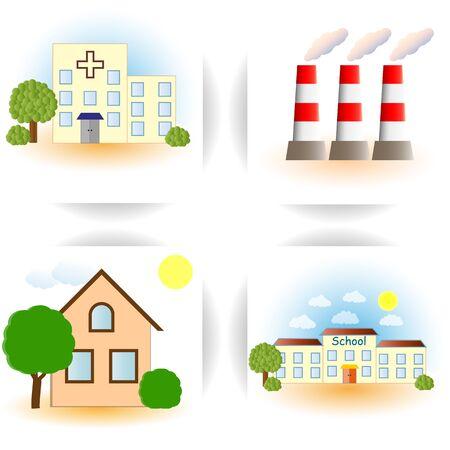 patio escuela: set - hogar, hospital, tubo de la f�brica, y la escuela