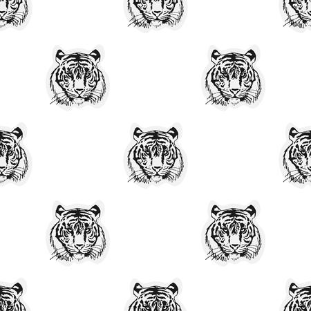 berserk: Seamless pattern from the muzzle of the tiger. Illustration