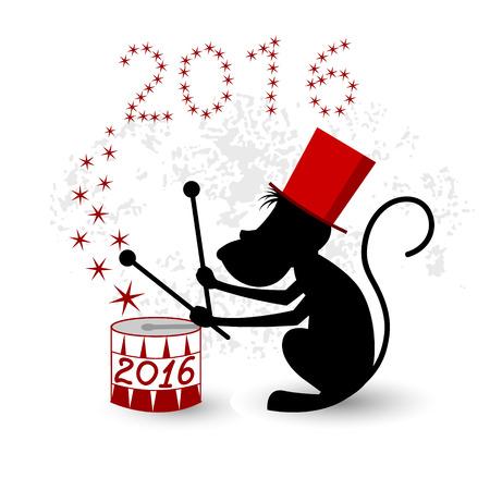 red drum: Monkey, zodiac symbol 2016. Magic monkey in a red hat playing drum.