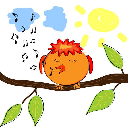 tune: Cartoon bird on branch singing a tune.