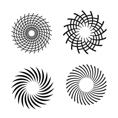 espiral: Conjunto de espirales vectoriales. Elemento de diseño. Vectores