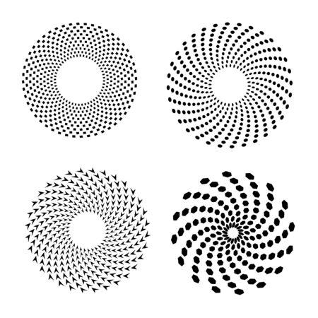 Set of vector spirals. Design element.