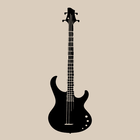 death metal: A vector silhouette of an electric guitar. Illustration