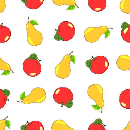 petiole: Seamless vector background of fruity pears and apples. Illustration