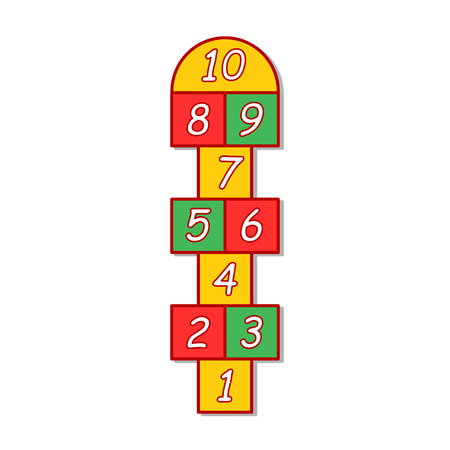 hopscotch: colorful illustration  with hopscotch game on grey background. Illustration