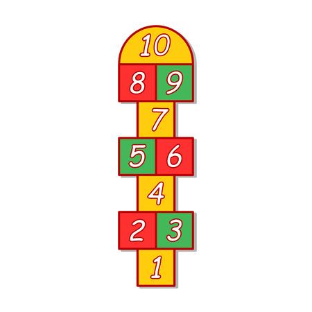 hopscotch: colorful illustration  with hopscotch game on grey background. Stock Photo