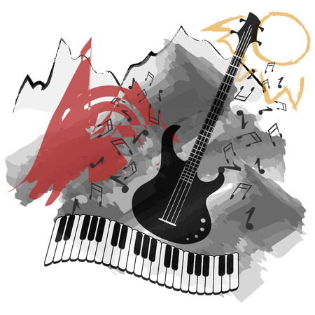 nostalgia: Vector background-music instruments background abstract natural landscape.