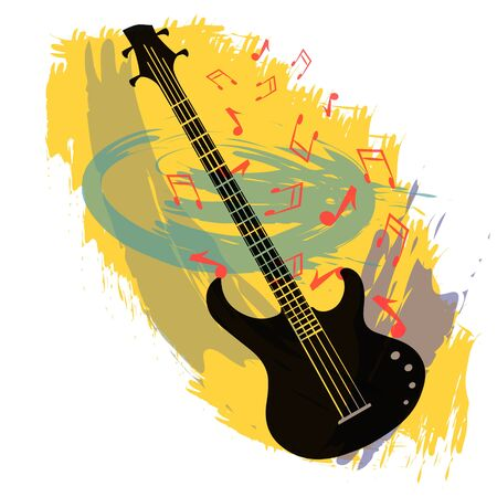 bass guitar: Abstract vector background with bass guitar.