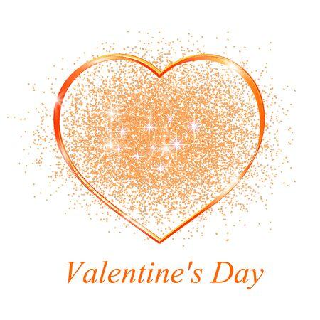 golden heart: Golden heart in gift on Valentines day.