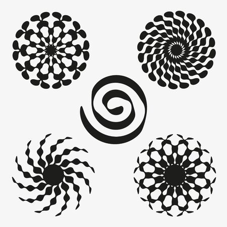 A set of graphic elements in the form of flowers and spirals