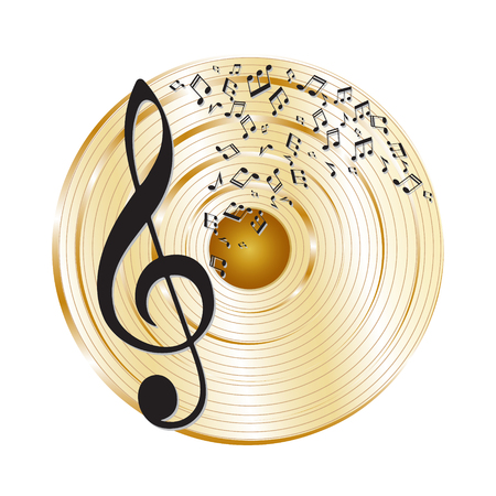 Music gold record. Music notes and treble clef.