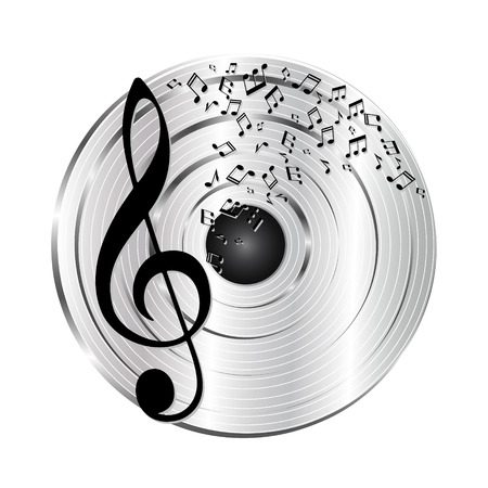 platinum: Music platinum record. Music notes and treble clef