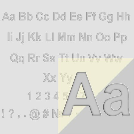 Vector Alphabet Set, The letters pressed into the surface of the paper.