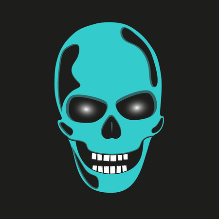 eye sockets: Turquoise skull with glowing eye sockets.