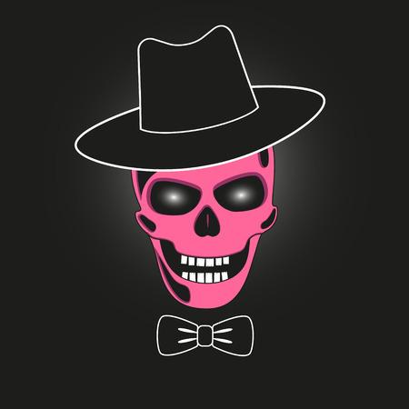 eye sockets: Pink skull in hat. Illustration