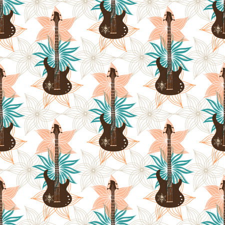 Seamless background with bass guitar and flowers.. Music wallpaper Stock Illustratie