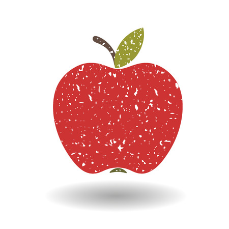 grit: Flat red Apple, covered in white grit.