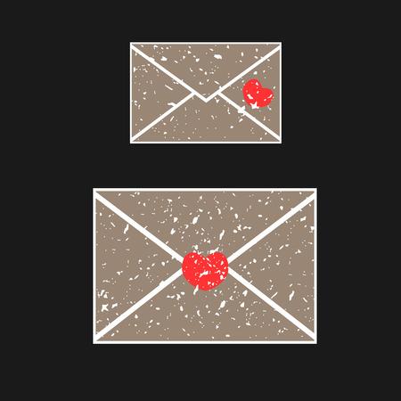grit: Two old envelope, covered in white grit. Illustration