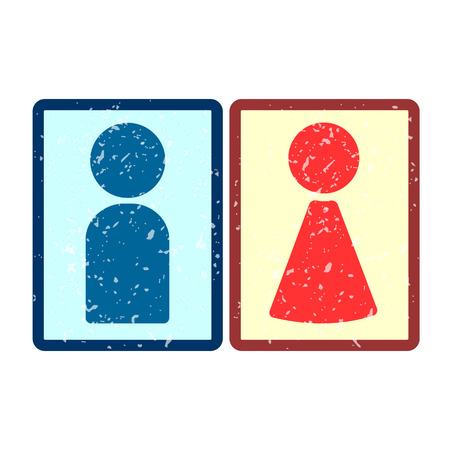 grit: Icons of man and woman, covered in white grit. Illustration