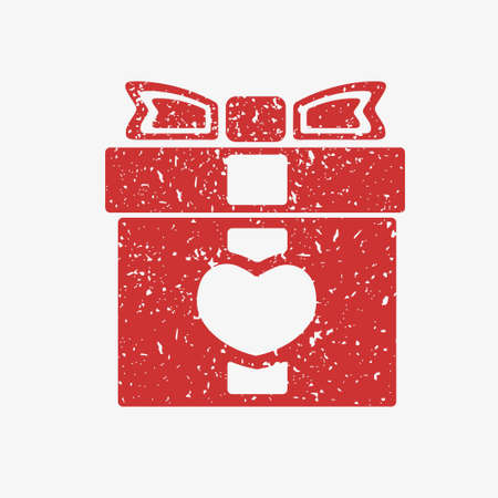 grit: Icon red gift box with bow, covered in white grit. Illustration