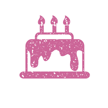 pink cake: Pink cake with candles, vector icon.