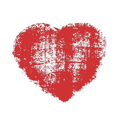 paper heart: Heart, carelessly painted with paint on paper.