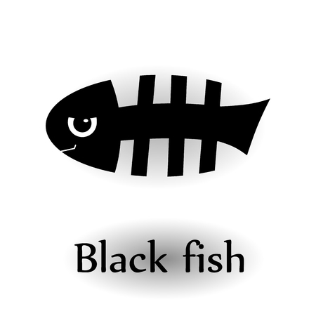 skeleton fish: Icon black skeleton fish.
