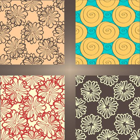 cochlea: Set of seamless backgrounds. Handmade, floral patterns.