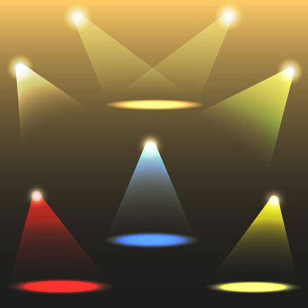 spot lit: colorful light sources. Vector set.