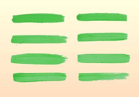 gouache: The set of green strokes of gouache.