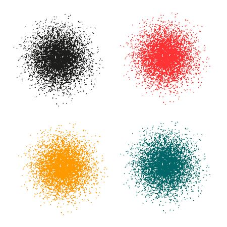square detail: The circle of small particles. Set of vector illustrations.