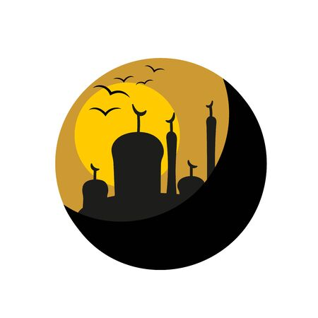 masjid: silhouette of mosque or Masjid on moon background, concept for Muslim Holy month of Ramadan