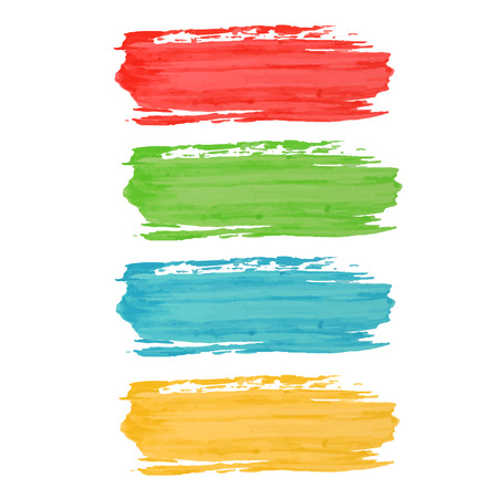 paint strokes: Colorful set of watercolor paint strokes. Illustration
