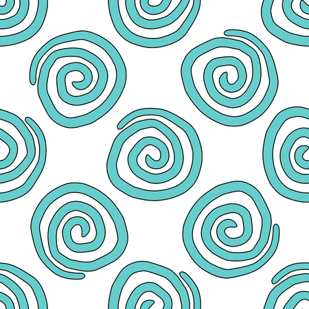 inconspicuous: Seamless vector background-a spiral is drawn by hand.