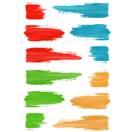 brush strokes: Set of colored brush strokes of paint.