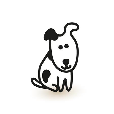 Pequeño perrito lindo. dibujo vectorial.