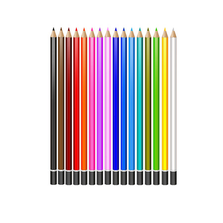 pensil: Realistic vector pencils. set of colored pencils on white background