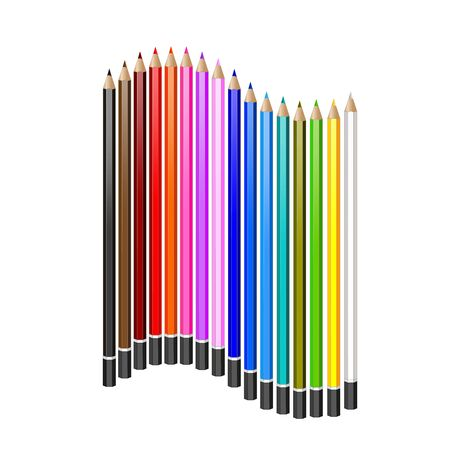 pensil: set of colored pencils. Vector realistic illustration. Illustration