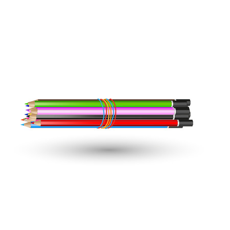pensil: A set of colored pencils connected with rubber band. Realistic vector. Illustration