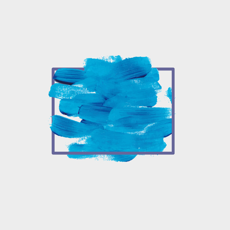 chaotic: Chaotic blue round spot of paint. Acrylic brush strokes.