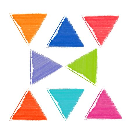 Pattern of colorful watercolor triangles. Red blue green orange other colors.