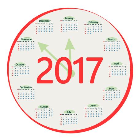 Round the calendar in 2017. Vector illustration